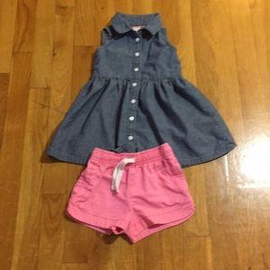 Toddler Denim Dress and pink shorts